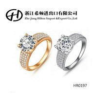 HR0197 Wholesale Unisex Ring 18K Gold Platinum Plated Zircon Fashion Jewelry Rings With Austria Crystal