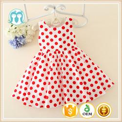 fashion girl summer dress polk dot design red and white baby polka dot ddress