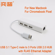 USB 3.1 Type C male to RJ45 ethernet adapter with HUB for new Macbook Type C