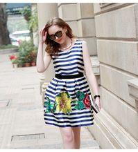 Wholesale brand women's European leg striped sequined vest skirt round neck beads flowers temperament tutu genuine