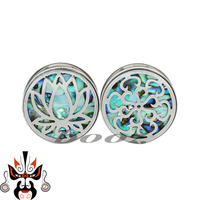 screw stainless steel fashion body jewelry ear piercing gauges plugs with shell