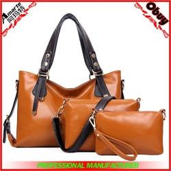 Brown 3 pcs sets oil leather women handbags