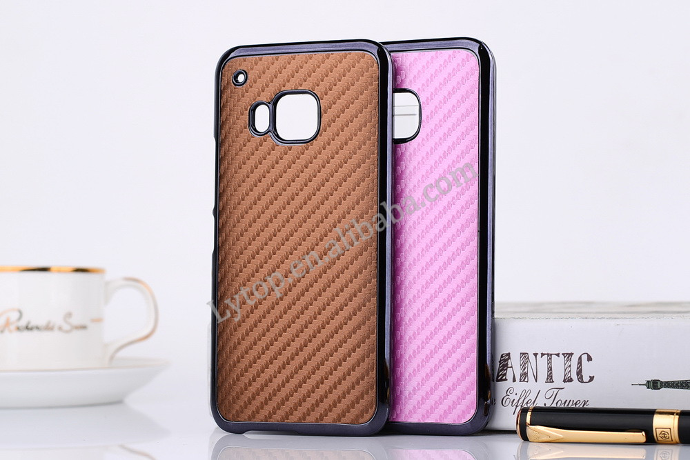 Ultra Thin Carbon Fibre Style Plated PC Hard Case For HTC M9