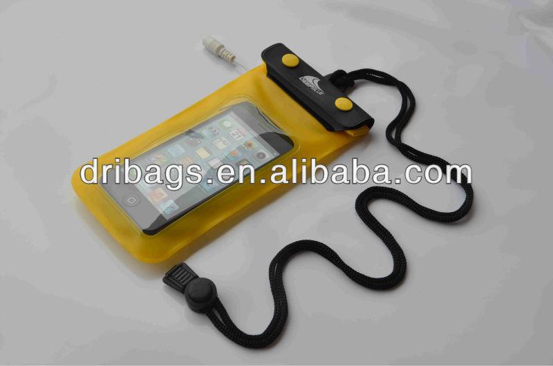 Triple ziplock PVC phone waterproof pouch with earphone jack