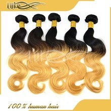 Alibaba Express High Quality Products Tangle Free Best Colored Double Drawn Two Tones Ombre Hair