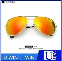 silver frame orange lens promotional summer women sunglasses 2015