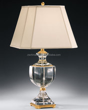 wholesale the United Kingdom antique style trophy crystal table lamp with beige pagoda fabric lamp shade