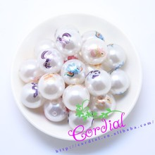 Alibaba-express White Chunky Jewelry Beads Round Ball Plastic Pearl Printed Cartoon Pictures