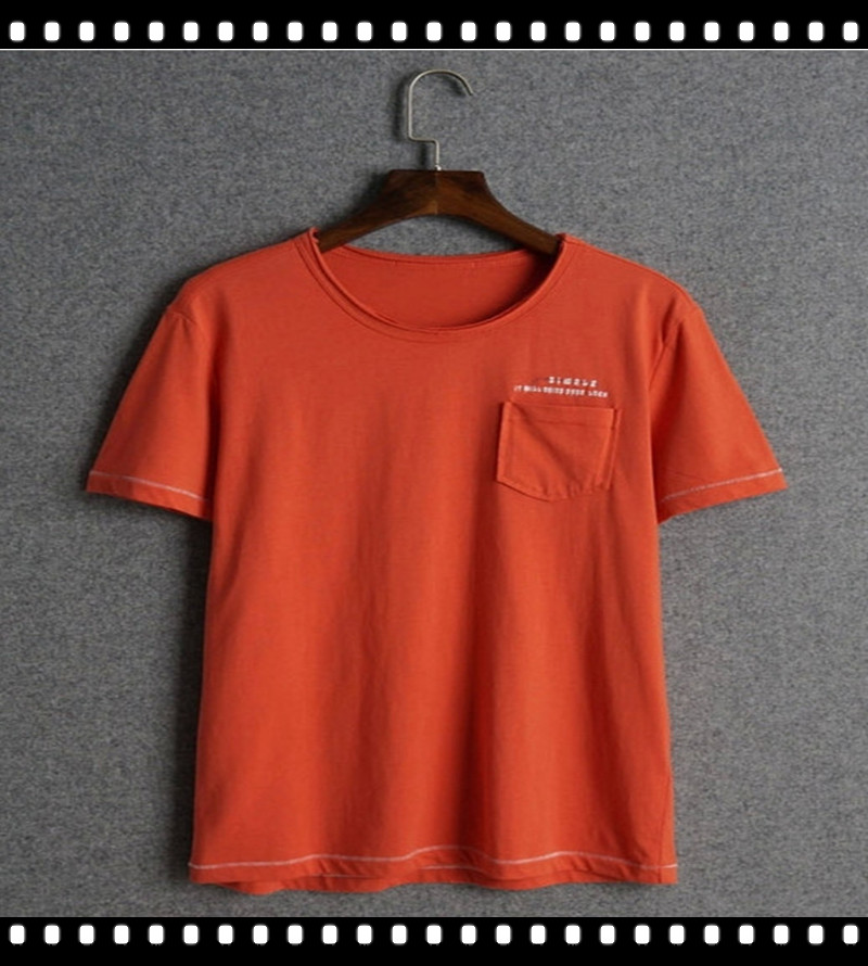 No brand round neck plain orange t shirt for men for Plain t shirt brands