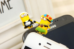 Cartoon Despicable Me Cell Phone Anti Dust Cover Plug For Samsung Galaxy S6