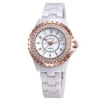 Ladies Fashion White Ceramic crystal Watch