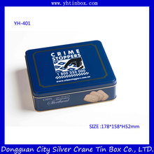 Rectangular Christmas cookie tin box/ cookie tin container for food packaging