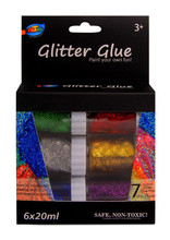 6*20ml Colorful Glitter Glue for Kid Arts and crafts, Decoration, Paper Arts