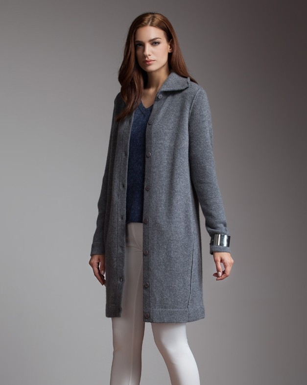 Knitting Patterns Long Cardigan Coat : Long Sweater Coat Knitting Pattern - Gray Cardigan Sweater
