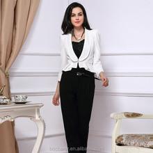 Ladies white fashion blazer designs with floucning