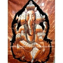 "Indian God Ganesh Ganesha Cotton Fabric Tapestry Batik Painting Wall Hanging 44"" X 32"""