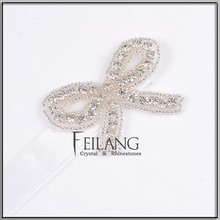 Bow rhinestone applique trim headband wristband garters band
