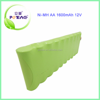 CE approved aa size rechargeable ni-mh battery pack 12v 1600mah