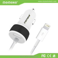 Most popular Smart iphone car charger, 5v/12v mini mobile phone car charger with LED light