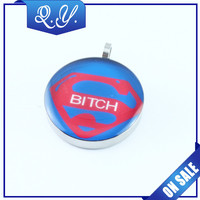 superman round shape fashion stainless steel pendants charms jewelry