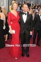 2012 Oscars Janet McTeer Long Sleeve Sexy V-Neckline Mermaid Red Long Celebrity Dresses Evening Gown