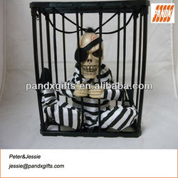 STUFFED PIRATE IN CAGE,WITH LIGHT UP EYES,SOUND,SENSOR,MOVING