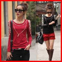 Free shipping FR21 Large size women's spring 2013 Korean long-sleeved t-shirt Slim female fat mm round neck bottoming shirt