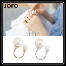 Promotion Korean Elegant Women 18KG Plated Korean Lovely Girls Simulated Pearl 18K Golden Opening Adjustable Ring