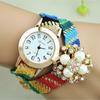 Hot sale crystal watch ladies gemstone watch wholesale design leather wrap bracelet pearl gems tone women watch