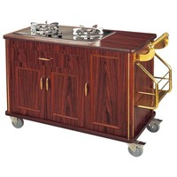 Restaurant Gas Cooking Stoves Wooden Flambe Serving Trolley Catering Carts Mutifunction Utility Restaurant Trolley CL28