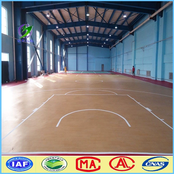 Non slip indoor basketball court pvc flooring for for Indoor basketball court installation
