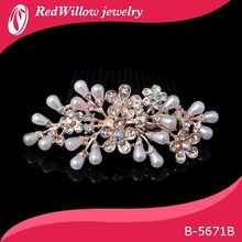 Magic Pearl Stone Flower Rose Gold Hair Comb Bridal Hair Comb In Sale