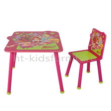 HT-TC009 60x60x48.5(H)cm E1 MDF Easy Slot Cartoon Image Kids Table And Chairs, High Quality Kids Study Table Chair