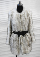 YR-134 Genuine high quality knitted raccoon fur coat/ lady garment