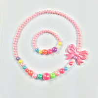 High Quality Wholesale Acrylic Beads With Elastic Chain Rope Butterfly Pendant Necklace Sets Kids Girls Pearl jewelry