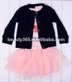 bebés de los niños trajes de algodón linda encantadora 3PCS Outfit Set Cardigan + camiseta + falda