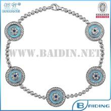 nuevo diseño de la joyería judía brazalete de tenis mal de ojo afortunado turco plata de ley 925