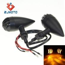 ZJMOTO Matte Black Grill Grille Aluminum Bullet Amber Turn Signal Blinker Indicator Light Sportster Amber Turn Signal Indicator