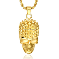 Gold plated stainless steel cremation skull pendant charm necklace online wholesale from Alibaba