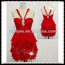 Red Evening Dresses L601 Speghetti Strap Red Chiffon Short Graduation Dresses | cocktail dresses red
