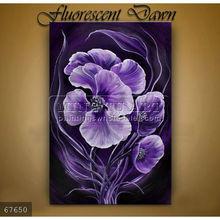 Handmade Modern flower designs fabric painting oils on canvas,Fluorescent Dawn