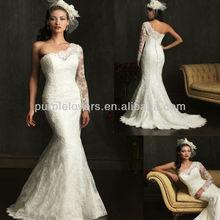 Uno elegnt- hombro todos- más apliques de encaje vestido de novia sirena