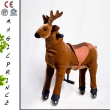 (EN71&CE&ASTM)~(Pass!!)~Dalian Amusement walking animal reindeer for kids 3-15/Pony ride-on wheels plush toys reindeer brown