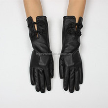 fancy black ladies long leather gloves with button