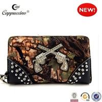 2015 high quality ladies rhinestone gun camouflage ladies purse wholesale