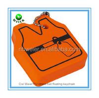 7.2x6.2x2cm vest shape PU floating keychain/soft toy PU vest floating keychain/soft foam PU vest floating keychain
