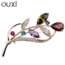 OUXI New arrival fashionable elegant flower brooches made with swarovski elements 60113-2