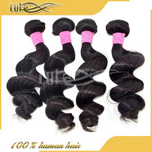 Unprocessed human virgin malaysian loose wave 6A hair extension tangle & shedding free