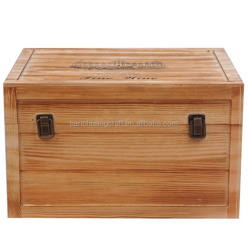 empty wooden wine gift boxes for 6 bottles 35x28x19cm