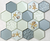 New Trend Glass During Covering Show Orlando Seashell Hexagon Building Material